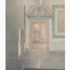 View of interior 2018 Oil on linen 25 x 20cm