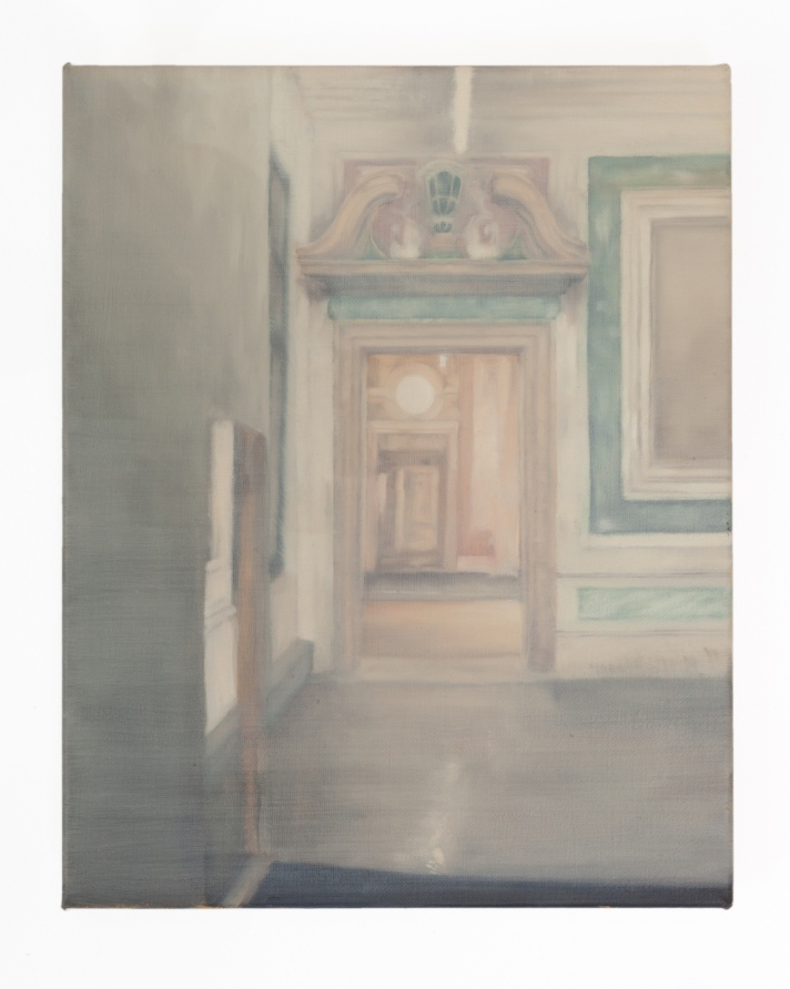 View of interior 2018 oil on linen 20 x 25cm