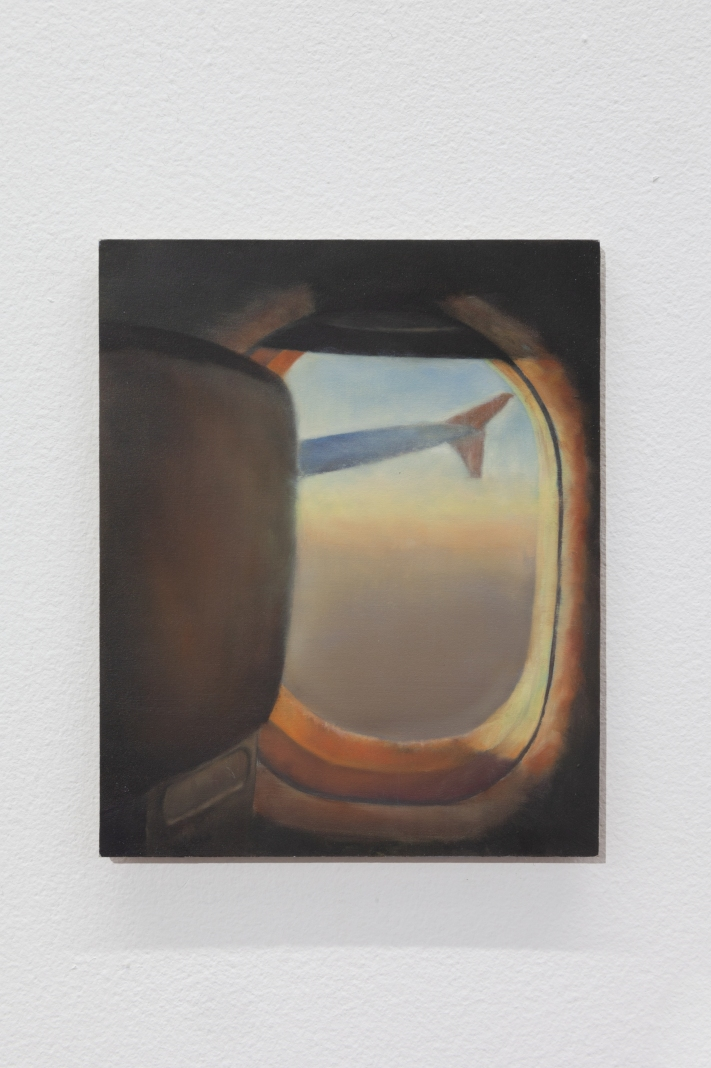 View from an aeroplane seat 2018 Oil on board 12.7 x 10.3cm