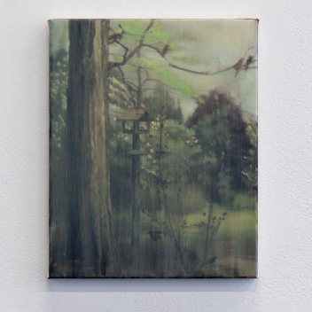 'View of trees and birds #1' 2019 Oil on linen 25 x 20cm