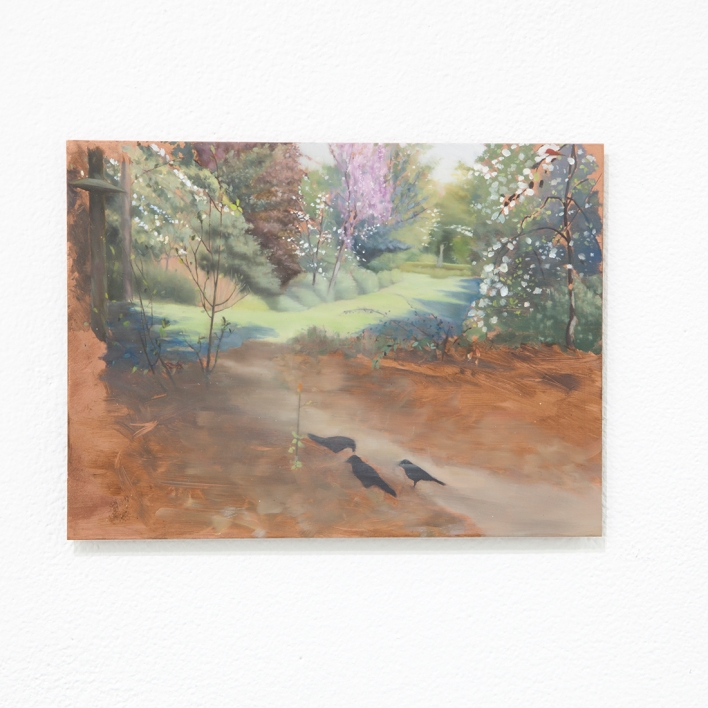Kate Wallace 2020 View of trees and birds #3 15 x 20cm Oil on copper