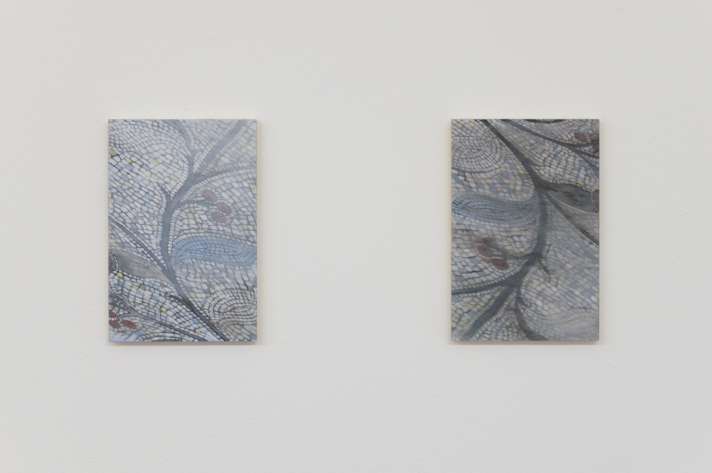 Kate Wallace (L-R) Floor detail #2 2019 Oil on board 15 x 10cm. Floor detail #1 2019 Oil on board 15 x 10cm.